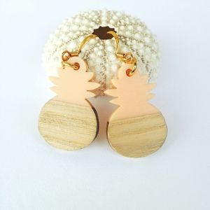 GP Pink Pineapple & Wood Earrings